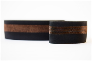 Elastische tailleband 50mm - Zwart met koper
