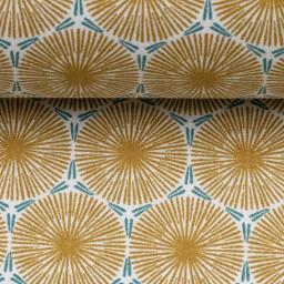 Gelamineerde katoen - Blaasbloem goud