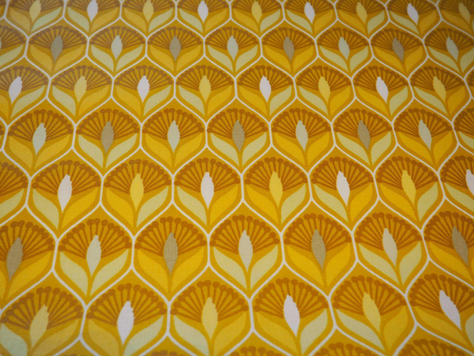 Gelamineerde katoen - Retrobloem geel