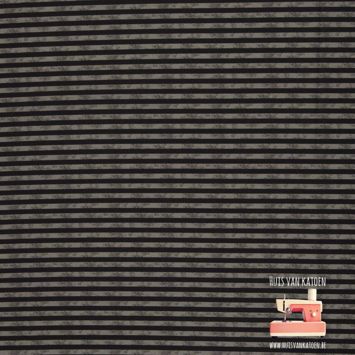 Katoen - Dino stripes grey