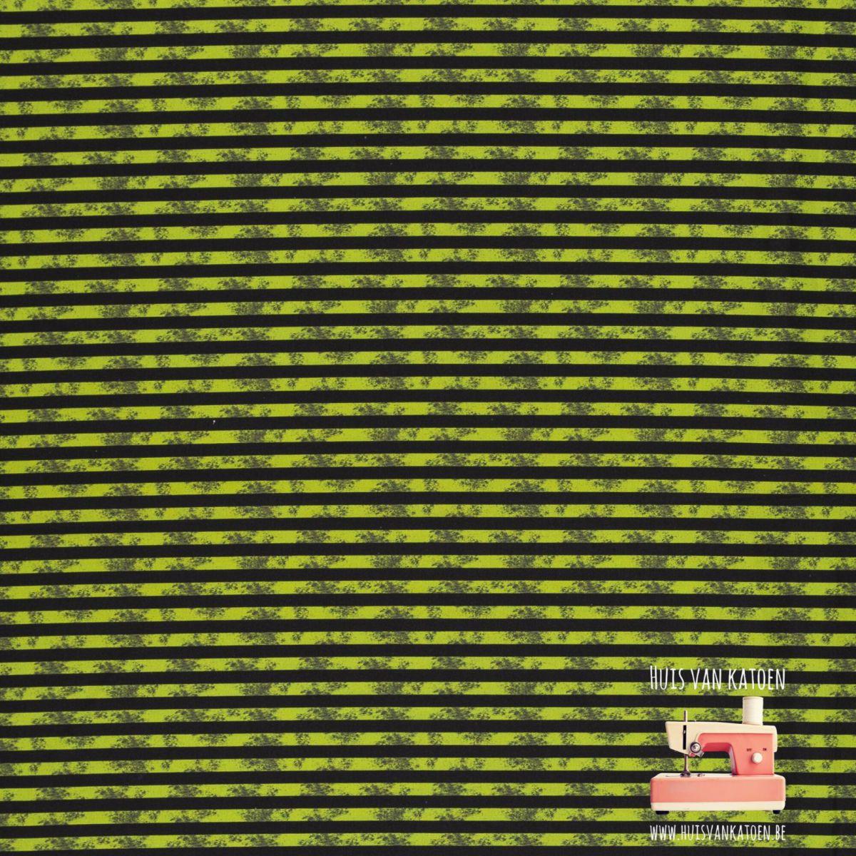 Katoen - dino stripe neon