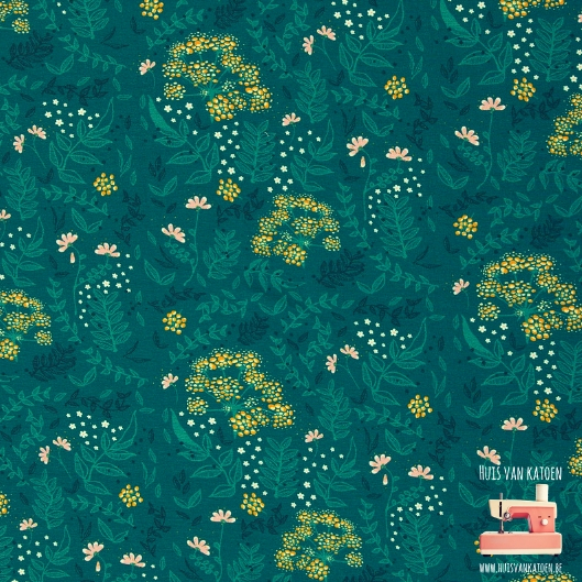 French terry - Flowers green and pink