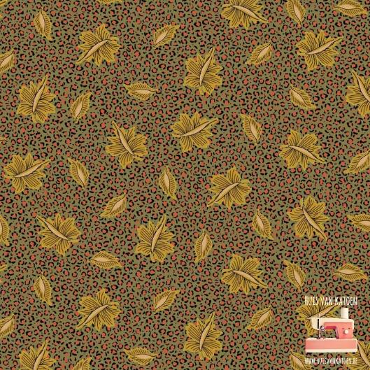 Woven - Green golden print